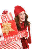 Christmas: Excited For Christmas Gifts — Stock Photo