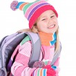 Winter: Cute Winter Girl Student — Stok fotoğraf