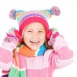 Winter: Cute Winter Girl Laughing — Stok fotoğraf