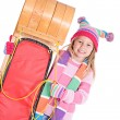 Winter: Girl Standing Next To Toboggan — Stok fotoğraf