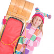 Winter: Girl Standing Next To Toboggan — Stock Photo #36650731