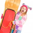 Winter: Surprised Girl Stands With Toboggan — Stok fotoğraf