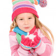Winter: Little Girl Holding Snow — Stock Photo