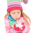 Winter: Winter Girl Blowing Snow — Stock Photo