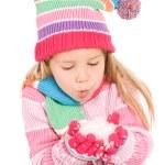 Winter: Winter Girl Blowing Snow — Stock Photo