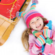 Winter: Laughing Snow Girl With Toboggan — Foto Stock
