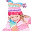 Winter: Little Girl With Snowflakes — Foto Stock