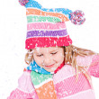Winter: Little Girl With Snowflakes — Stok fotoğraf