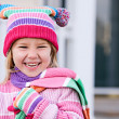 Winter: Laughing Girl In Winter Clothing — Foto Stock