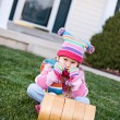 Winter: Little Girl Frustrated By No Snow — Foto Stock