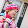 Winter: Little Girl With Snowflakes On Clothing — Stok fotoğraf