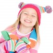 Winter: Cute Smiling Girl in Winter Clothing — Stok fotoğraf