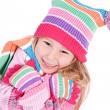 Winter: Cold Little Girl Shivering — Stock Photo