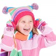 Winter: Winter Girl Laughing To Side — Stock Photo