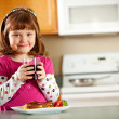Kitchen Girl: Having Juice with Lunch — Foto Stock