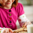 Kitchen Girl: Eating Milk and Cookies — Foto Stock
