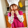 Kitchen Girl:  Kid Chef Eating Lunch — ストック写真