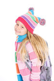 Winter: Cute Student Dressed For Winter — Stock Photo