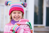 Winter: Laughing Girl In Winter Clothing — Stock Photo
