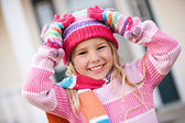 Winter: Excited Girl Ready For Snow — Stock Photo