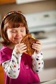 Kitchen Girl: Ready to Eat Grilled Cheese — Stock Photo