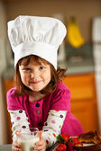 Kitchen Girl: Child Chef with Lunch — Stock Photo