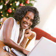 Christmas: Woman Using Laptop During Holiday — Foto Stock