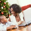 Christmas: Mother Helping Boy Write Santa Letter On Computer — Stok fotoğraf