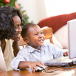 Christmas: Mother Helping Boy Write Santa Letter On Computer — Foto Stock
