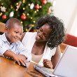 Christmas: Boy Using Computer Mouse — Foto Stock