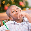 Christmas: Young Boy Writing Letter To Santa — Foto Stock