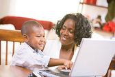Christmas: Family Doing Christmas Shopping Online — Stock Photo