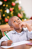 Christmas: Young Boy Writing Letter To Santa — Stock Photo