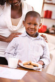 Christmas: Boy Getting Cookies For Santa Claus — Stock Photo