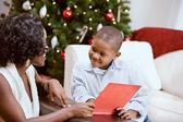 Christmas: Sharing A Christmas Story Book — Stock Photo