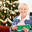 Christmas: Excited To Get Holiday Mail — ストック写真