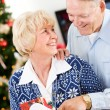 Christmas: Couple Happy To Get Christmas Mail — Foto Stock