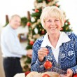 Christmas: Senior Couple Ready To Decorate Tree — Stock Photo