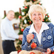Christmas: Senior Couple Ready To Decorate Tree — Stockfoto