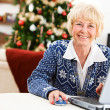 Christmas: Senior Woman Online — ストック写真