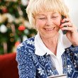 Stock Photo: Christmas: WomUsing Credit Card Over Phone