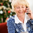 Christmas: Woman Using Credit Card Over Phone — Foto Stock