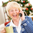 Christmas: Woman Catching Up With Friend On Phone — 图库照片