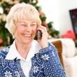 Christmas: Senior Woman Talking To Friend — Stock Photo