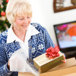 Christmas: Woman Ready To Ship Holiday Gifts — Stockfoto