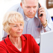 Stock Photo: Seniors: Couple On Phone With Tech Support