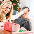 Christmas: Husband Wants To See Christmas Gift — Stock Photo