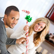 Christmas: Man Knows What Wrapped Gift Is — Stockfoto