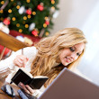 Christmas: Taking Notes On Online Gift — Stock Photo #36849459