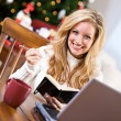 Christmas: Woman Writing In Notebook While Online — Stok fotoğraf